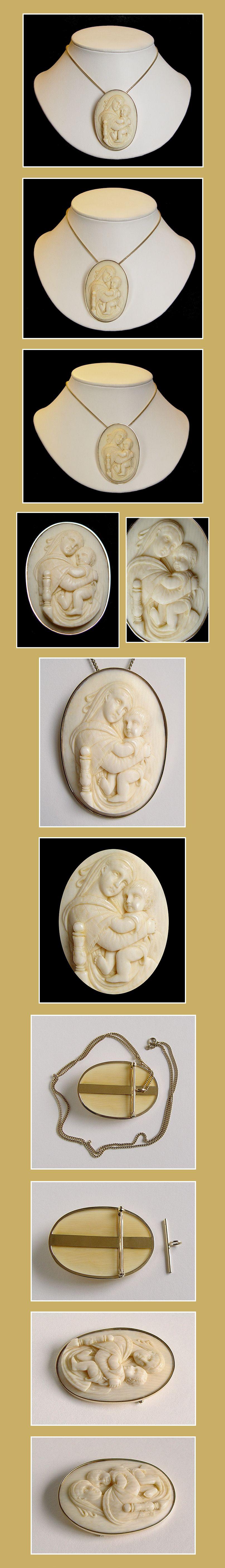 ANTIEKE IVOREN CAMEE-PLAQUETTE HANGER/BROCHE IN 14K.GEEL GOUDEN MONTUUR. Madonna met Kind Jezus. Italië ca.1780-1800